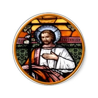 St. Joseph pray for us   stained glass window Round Sticker