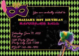 Masquerade Costume Mardi Gras Party Invitations