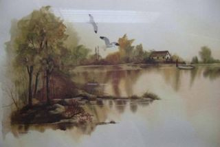 Framed Water Landscape Watercolor Print Signed F Massa