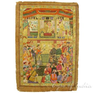 Miniature Painting of a Mughal Court Scene on Paper (Jaipur, India