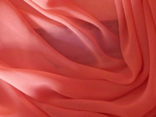 Coral Soft Touch Chiffon Sheer Fabric Material Q354 CRL