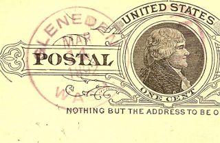 Washington State Postal History Lewis County 1892 Gleneden DPO5