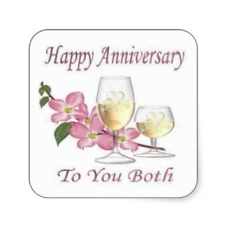anniversary_083 Happy Anniversary Square Stickers