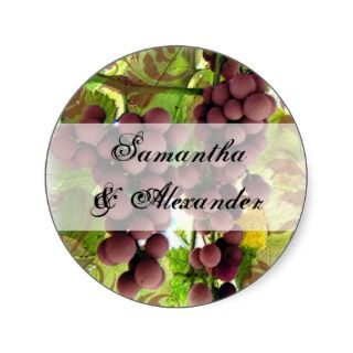 Elegant Vineyard Purple/Green Grapes Wedding Round Stickers