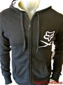 Fox Racing Co Empire Zip Front Fleece Hoodie Mens Black Small