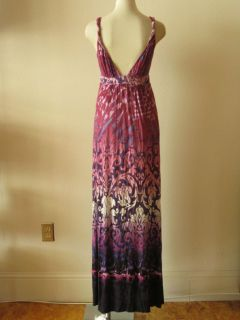 Anthropologie Matty M Purple Damask Print Jersey Knit Babydoll Maxi