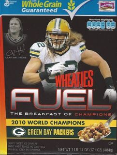 Wheaties Clay Matthews Green Bay Packers World Champion Cereal Box