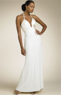 Mary L Couture Notch Bodice Halter Gown Ivory Size 10