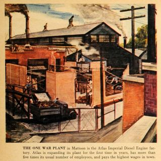 1942 Print Mattoon Illinois Atlas Imperial Diesel Engine World War II