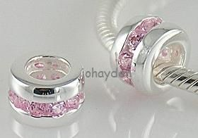 925 Sterling Silver Pink CZ European Bead Charm