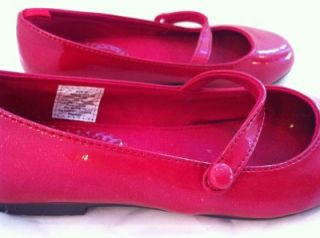 Red Patent Gap Girls Shoes 12 Mary Jane Ballet Flats Holiday