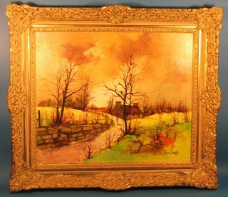 Large Original Maurice Lemaitre Signed Oil Painting