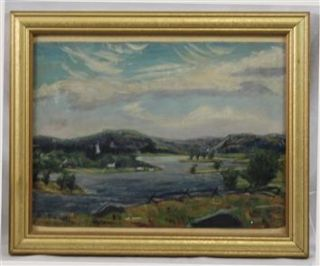 Original American Canadian Oil on Board Landscape Painting by Ernest