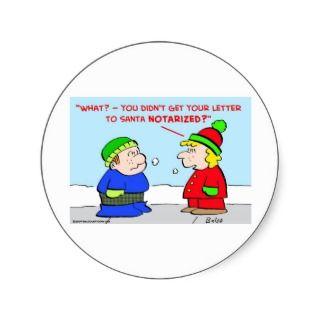 christmas letter santa claus notarized round sticker