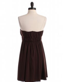 Max and Cleo Brown Strapless Dress with Boning Sz S