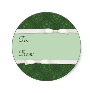 Pattern Green Holiday Gift Tag Stickers