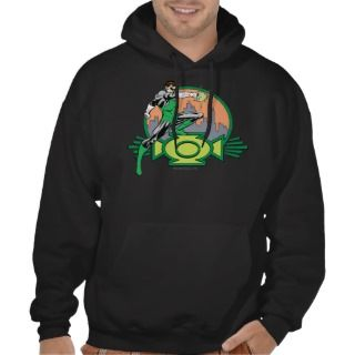 Green Lantern City Background and Logo Hooded Sweatshirt