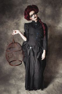 Gothic Steampunk Victorian Black Bustle Dress with Cargo Pockets