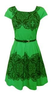 Green Black Lace Print 50s Style Day Dress Trista Size 12 New