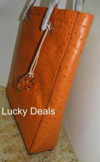 Michael Kors MK Laptop Jet Set Item Tote Handbag Bag Ostrich Tangerine