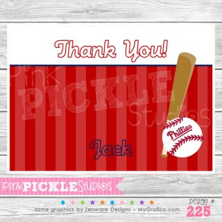 Stripes Personalized Birthday Party Invitation or Thank You Card 225