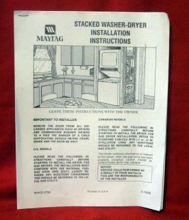 Maytag Stacked Washer Dryer Manual Guide Installation Instructions