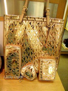 Michael Kors Set Tote Bag Coin Purse Wallet Rose Gold