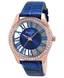 Kenneth Cole New York Watch, Womens Blue Croc Embossed Leather Strap