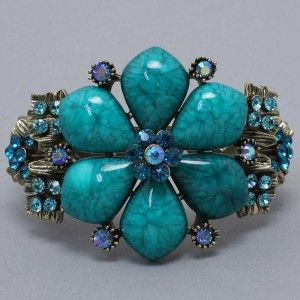 TURQUOISE FLOWER ANTIQUE GOLD STATEMENT COSTUME JEWELRY Cuff Bracelet