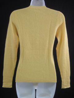 Maya Yellow Cashmere Long Sleeve Thermal Sweater Sz M