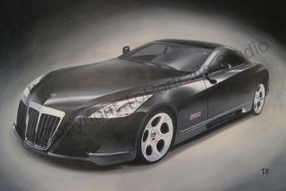 Original Art Oil Painting Maybach Exelero V12 Bi Turbo
