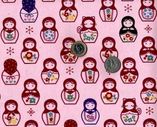 Matryoshka Print Oxford Fabric Japanese Fabric Half Yard Pink