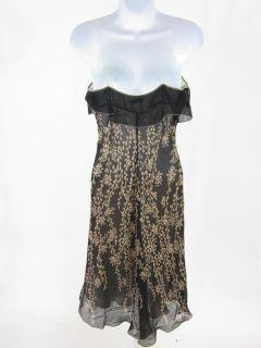 Maxstudio Black Beige Silk Floral Sleeveless Dress Sz S