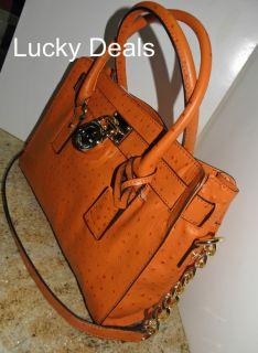 Michael Kors Hamilton Lock Bag Handbag Tote Satchel Tangerine Ostrich