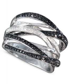 Caviar by Effy Collection 14k White Gold Ring, Black and White Diamond