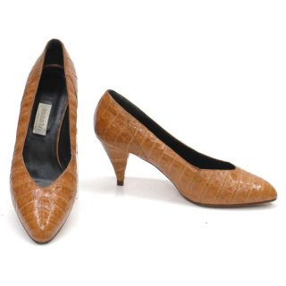 Mauri Made in Italy Brown Alligator Elegant Dress Heels Pumps Shoes
