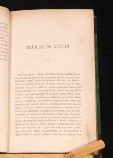 1872 Maurice de Guerin Journal Lettres Poemes Biography