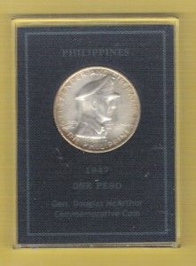 Philippines 1947 One Peso General McArthur Commemorative Coin with