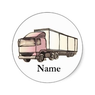 Big Rig Truck Round Stickers