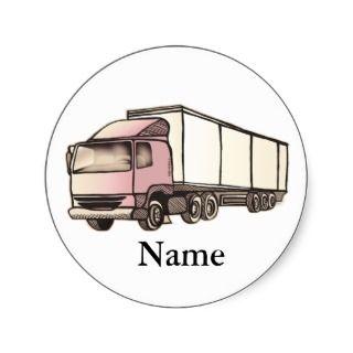 Big Rig Truck Round Stickers
