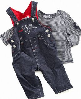GUESS Baby Set, Baby Boys Long Sleeve Shirt and Overalls   Kids