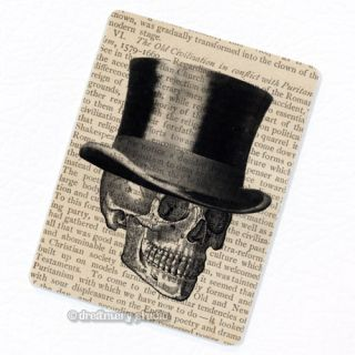 Skull w/ Top Hat Deco Magnet; Anatomy Vintage Medical Illustration