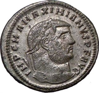 Maximian Quality Follis 297AD Ancient Roman Coin Genius