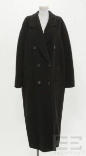 MaxMara Black Double Breasted Full Length Coat Size 12 14