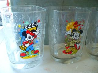 Disney Mickey Mouse Glass Collectibles 4pc Set McDonalds