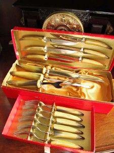 Vintage Sheffield Cutlery Meat Carving Set Knife Fork Box SCC Bakelite