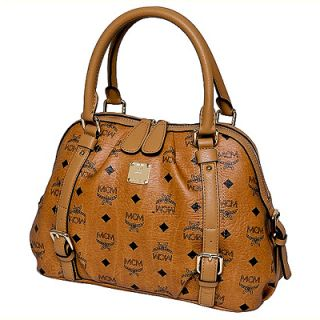 Brand New Authentic MCM Vintage Visetos Boston Bag Small NWT Cognac