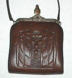 Meeker Antique Hand Tooled Leather Purse Early 1900s