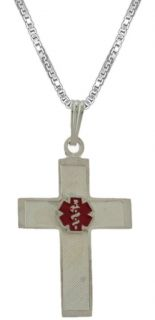 925 Sterling Silver Medical Alert Cross ID Pendant Charm Necklace