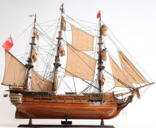 MAGNIFICENT HMS SURPRISE SHIP HANDMADE WOODEN MODEL 37 INCHES.